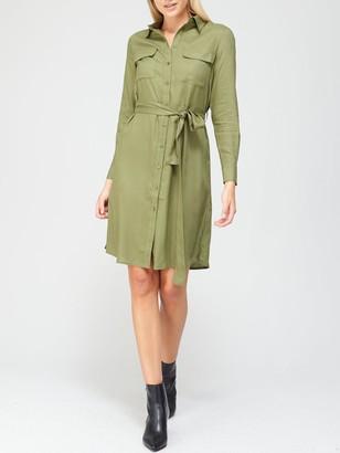 Very Button Down Shirt Dress - Khaki