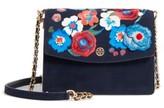 Tory Burch Parker Flower Embroidered Leather Shoulder/crossbody Bag - Blue