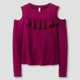 Xhilaration Girls' Long Sleeve Cold Shoulder Top Purple M