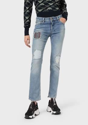 Emporio Armani J60 Straight-Slim Jeans In Ripped Comfort Denim