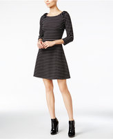 Maison Jules Striped Bow-Shoulder Fit & Flare Dress, Only at Macy's