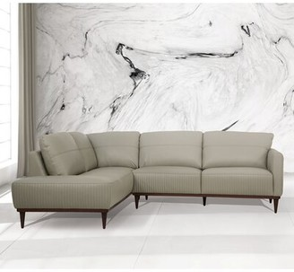 "Corrigan Studio Castleridge 103"" Wide Faux Leather Sofa & Chaise Fabric: Green Faux leather, Orientation: Left Hand Facing"