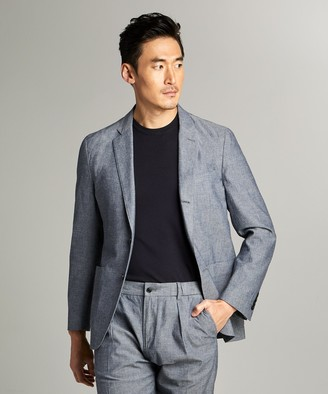 Todd Snyder Black Label Chambray Traveler Suit Jacket in Indigo