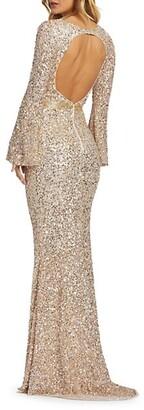 Bell-Sleeve Sequin Column Gown