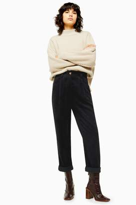 Topshop Black Casual Corduroy Tapered Trousers