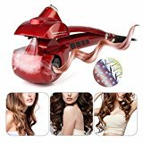 Hair Curler LuckyFine US Plug Steam function Automatic steam curler, ceramic, LED digital display 3 curls directions, 3 time settings, 3 temperature settings Hair Curler Curler Curling Iron Red red