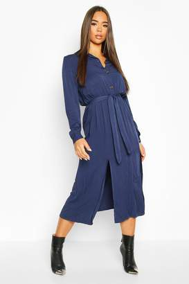 boohoo Collar Button Through Belted Midi Dress