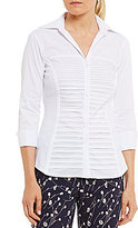 Investments Petites Button Front Pintuck Blouse