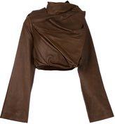 Rick Owens cropped biker jacket - women - Leather/Cotton - 40