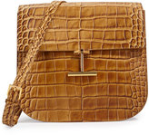 Tom Ford T-Clasp Fold-Over Alligator Bag, Brown