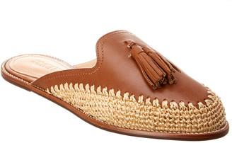 Schutz Petunnia Leather & Straw Slide