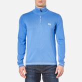 BOSS GREEN Men's Zime Half Zip Knitted Jumper Medium Blue