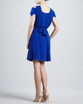 Zac Posen Chiffon Cold-Shoulder Dress, Cerulean