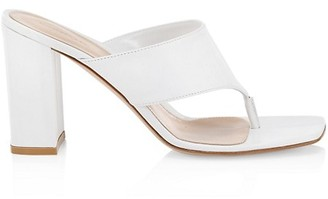Gianvito Rossi Leather Block Heel Thong Sandals