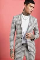 BoohoomanBoohooMAN Mens Grey Summer Check Skinny Fit Suit Jacket, Grey