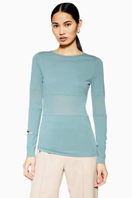Topshop Womens **Long Sleeve Slim Fit T-Shirt By Dusky Mauve