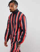 Granted Overhead Windbreaker Jacket In Black Stripe With Half Zip