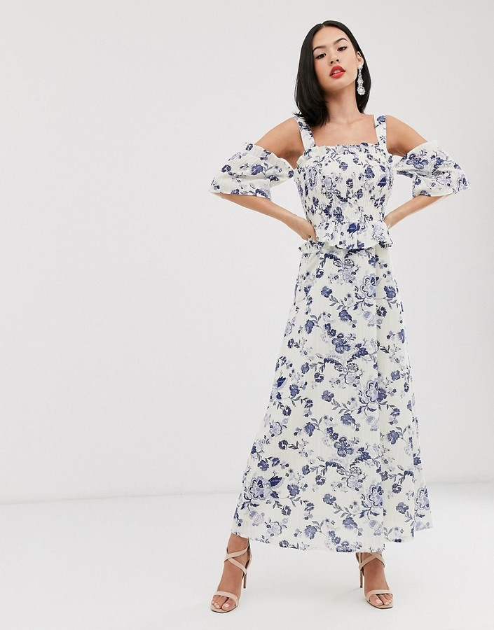 Asos DESIGN shirred maxi dress in china blue print