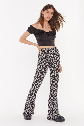 Nasty Gal Womens Fresh As a Daisy Flared Trousers - Black - 4