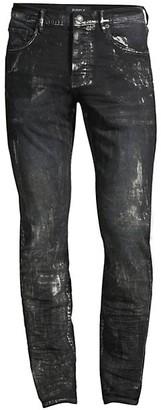 Purple Brand P001 Slim-Fit Metallic Silver Jeans