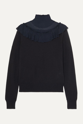 Chloé Ruffled Ribbed-knit And Wool Sweater - Navy