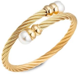 Eye Candy La Luxe Sibelle Goldtone Glass Pearl Wrap Cuff Bracelet