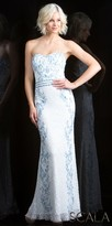 Scala Low Back Sequin Embellished Column Evening Gown