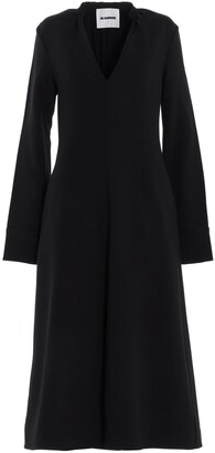 Jil Sander V-Neck Flounce Dress