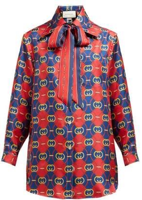 Gucci Gg Wave-print Silk-twill Shirt - Womens - Red Multi