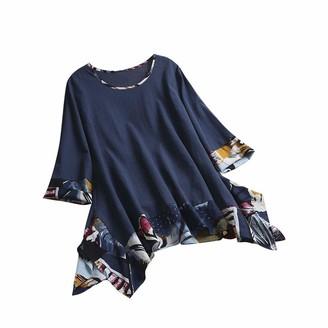 Tuduz Blouse Blouses Women TUDUZ Ladies Plus Size Loose Vintage Ethnic Print Tunic Top 3/4 Sleeve O Neck Irregular Hem Pullover Top T-Shirt (Blue 5XL)