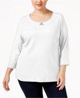 Karen Scott Plus Size Marilyn Buckle-Trim Top, Only at Macy's
