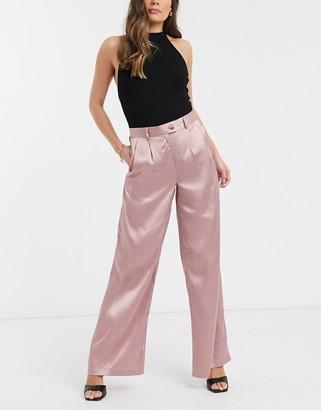 UNIQUE21 satin wide leg trousrs in light pink