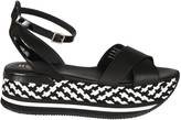 Hogan Checkered Wedge Sandals