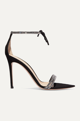 Gianvito Rossi Camnero 105 Crystal-embellished Suede Sandals - Black