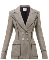 Peter Pilotto Double-breasted Lame-tweed Blazer - Womens - Silver Multi
