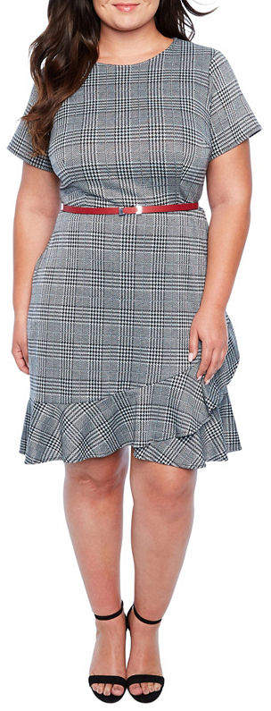 Belted Plaid Fit & Flare Dress - Plus