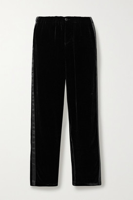 Sleepy Jones Marina Atleisure Grosgrain-trimmed Velvet Pajama Pants - Black