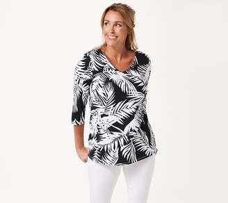 Belle by Kim Gravel TripleLuxe Knit 3/4-Sleeve Palm Print Top