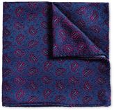 Blue and Berry Vintage Paisley Luxury Silk Pocket Square Size OSFA by Charles Tyrwhitt