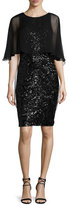 Rickie Freeman For Teri Jon Sequined Capelet Sheath Dress, Black