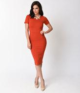 Unique Vintage 1960s Burnt Orange Short Sleeve Stretch Mod Wiggle Dress