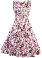 Moonpin Women's Vintage 1940s Floral Swing Fit And Flare Party Dress M