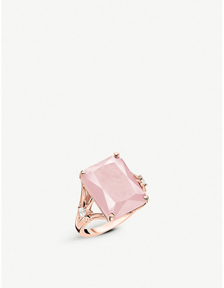 Thomas Sabo Magic Stones 18ct rose-gold-plated sterling silver and rose quartz cocktail ring