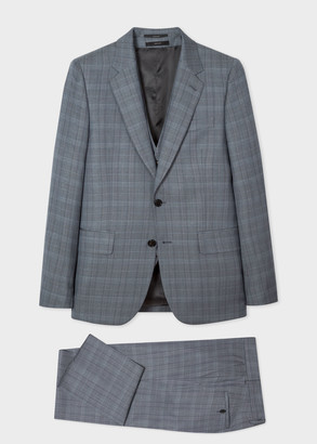 Paul Smith The Soho - Men's Tailored-Fit Slate Blue Prince Of Wales Check Three-Piece Suit