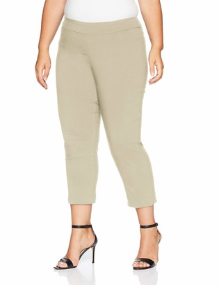 Slim Sation SLIM-SATION Women's Plus Size Pull On Skinny Solid Crop with Faux L Pockets