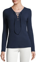 Romeo & Juliet Couture Lace-Up Ribbed Top, Navy