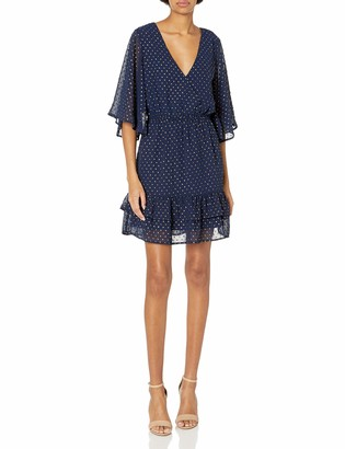Jack by BB Dakota Women's Hot Dots Foiled Chiffon Cross Front Flutter Sleeve Dress