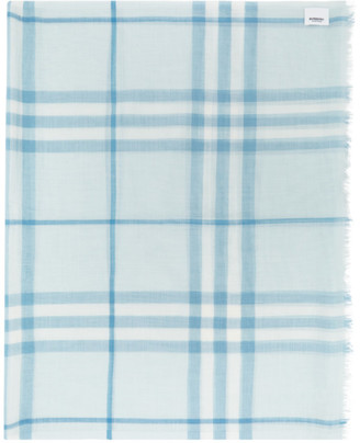 Burberry Blue Check Gauze Giant Scarf