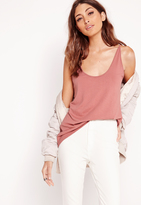 Missguided Extreme Scoop Neck Cami Tank Top Pink