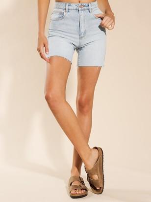A Brand Claudia Cut-Off Shorts in Gina Blue Denim